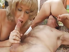 Facial, Mature, Old and Young, Threesome